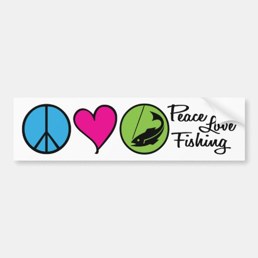 Pêche d'amour de paix autocollant de voiture
