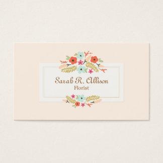 Pêche de bouquet floral de fleuriste cartes de visite