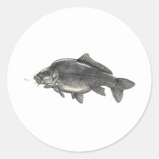 Pêche de carpe sticker rond