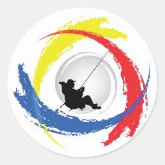 Pêche de l'emblème tricolore sticker rond