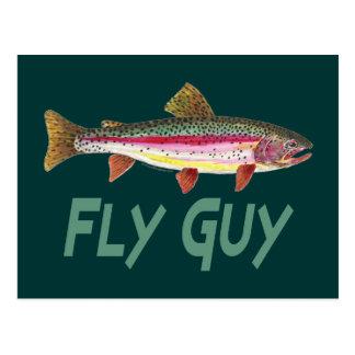 Pêche de mouche à truite arc-en-ciel carte postale