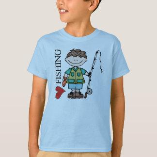 Pêche d'une chevelure d'amour du garçon I de Brown T-shirt