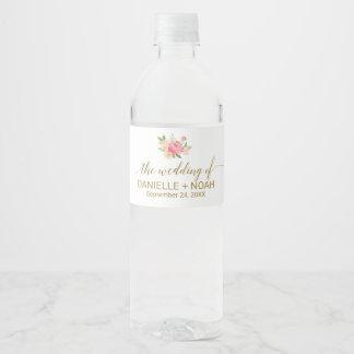 Pêche et épouser rose de fleurs de pivoine étiquette pour bouteilles d'eau