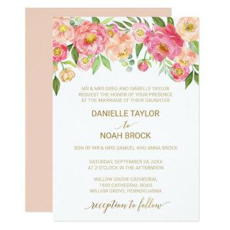 Pêche et mariage formel de fleurs roses de pivoine carton d'invitation  12,7 cm x 17,78 cm