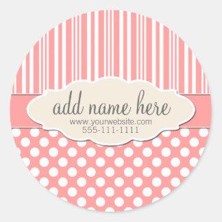 Pêche/étiquette rose de produit sticker rond