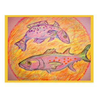pêche heureuse cartes postales