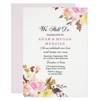 Pêche rose florale nous vouons toujours carton d'invitation  12,7 cm x 17,78 cm