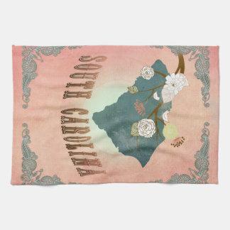Pêche vintage de pastel de carte d'état de la Caro Serviette Éponge