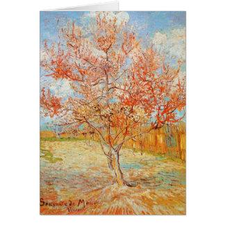 Pêcher rose de Van Gogh dans la carte de voeux de