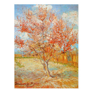 Pêcher rose de Van Gogh en carte postale de fleur