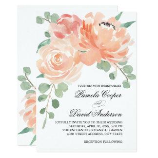 Pêches et mariage floral d'aquarelle crème carton d'invitation  12,7 cm x 17,78 cm