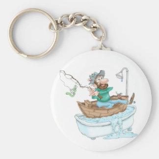 Pêcheur dans un baquet porte-clé rond