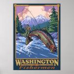 Pêcheur de Washington - affiche de voyage de pêche