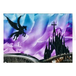 Pegasus au-dessus des ruines carte de vœux