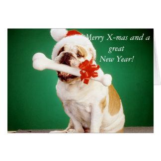 Pei drôle de Noël Shar avec l'os Carte De Vœux