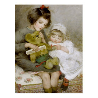 Peignée de la carte postale vintage de peinture de