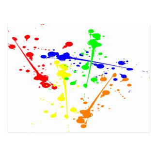 Peignez l'art abstrait d'éclaboussure coloré carte postale