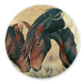 Peignez les poneys bouton de porte en céramique