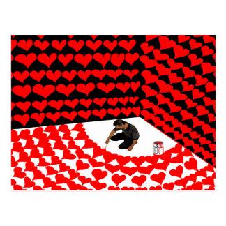 Peignez l'individu dans le coin avec les coeurs carte postale