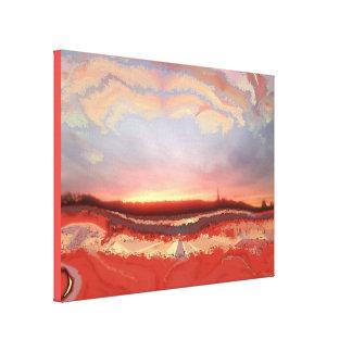 Peint sur la photo de coucher du soleil toile