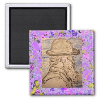 peintre avec l'égouttement de chapeau magnet carré