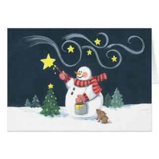 Peintre d'étoile de bonhomme de neige cartes