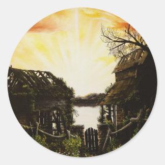 Peinture à l'huile de coucher du soleil avec de adhésifs ronds