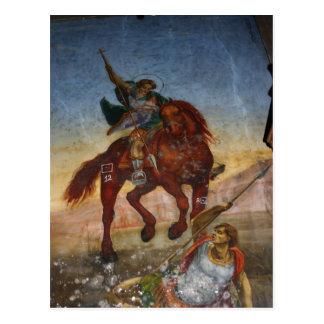 Peinture à l'intérieur d'une église grecque sur carte postale