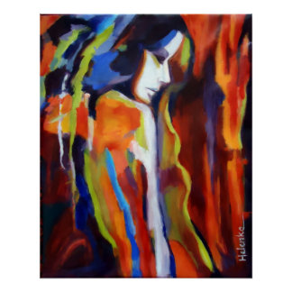 Peinture abstraite de figure femelle - copies posters