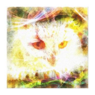 Peinture abstraite de tête de hibou toiles