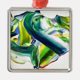 peinture abstraite ornement carré argenté