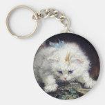 Peinture antique animale mignonne de chaton d'anim porte-clés