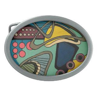 """Peinture aquatique abstraite moderne de la """"moitié boucles de ceinture ovales"""
