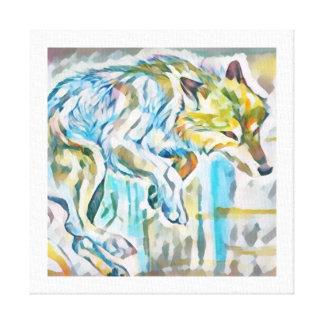 Peinture artistique de toile de loup