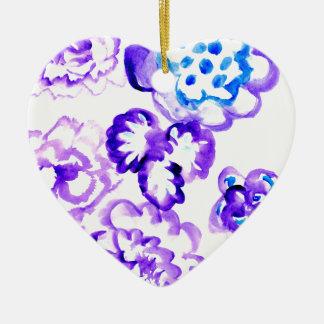 Peinture bleue Strokes4 Ornement Cœur En Céramique