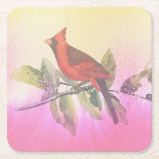 Peinture cardinale rouge d'aquarelle dessous-de-verre carré en papier