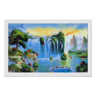 Peinture chinoise de cascade poster