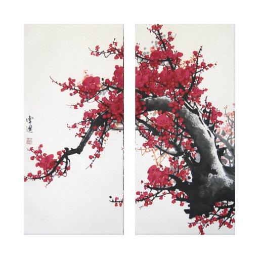 peinture chinoise de fleurs cerisier toile  toiles tendues sur chassis