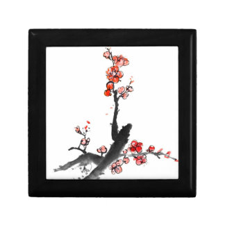 Peinture chinoise des fleurs, fleur de prune petite boîte à bijoux carrée