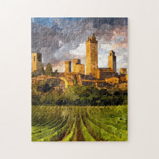 Peinture colorée d'aquarelle de château de la puzzle