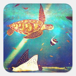Peinture colorée de tortue de mer d'océan bleu sticker carré