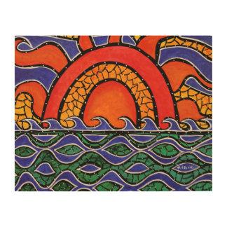 Peinture colorée d'océan d'abrégé sur coucher du impression sur bois