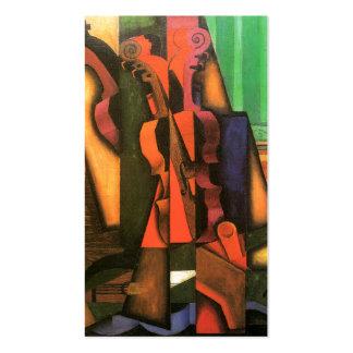 Peinture cubiste de violon et de guitare d'art par carte de visite