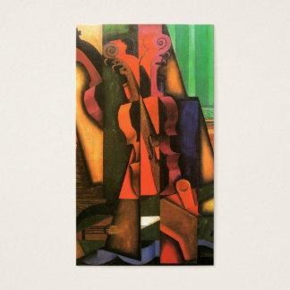 Peinture cubiste de violon et de guitare d'art par cartes de visite