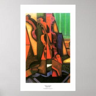 Peinture cubiste de violon et de guitare d'art par posters