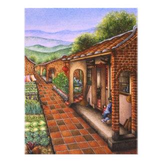 Peinture d un village de chinois traditionnel prospectus personnalisés