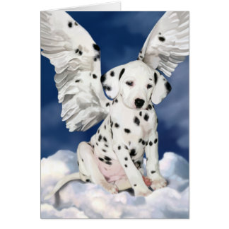 Peinture dalmatienne de chiot d'ange de carte