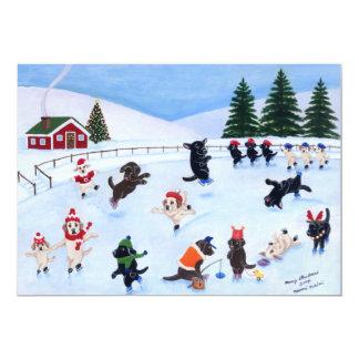 Peinture d'amusement de Labrador de Noël Carton D'invitation 12,7 Cm X 17,78 Cm