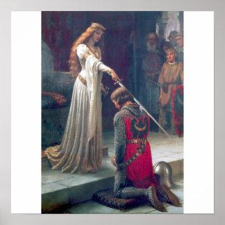 peinture d'antiquité de château d'épée de chevalie posters