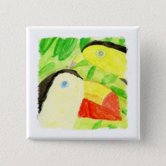 Peinture d'aquarelle avec des couples d'oiseau de badges
